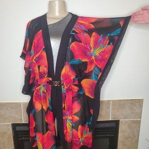 Victoria's Secret Hawaiian Flower/Large Floral Print Caftan Swim Cover Up Robe